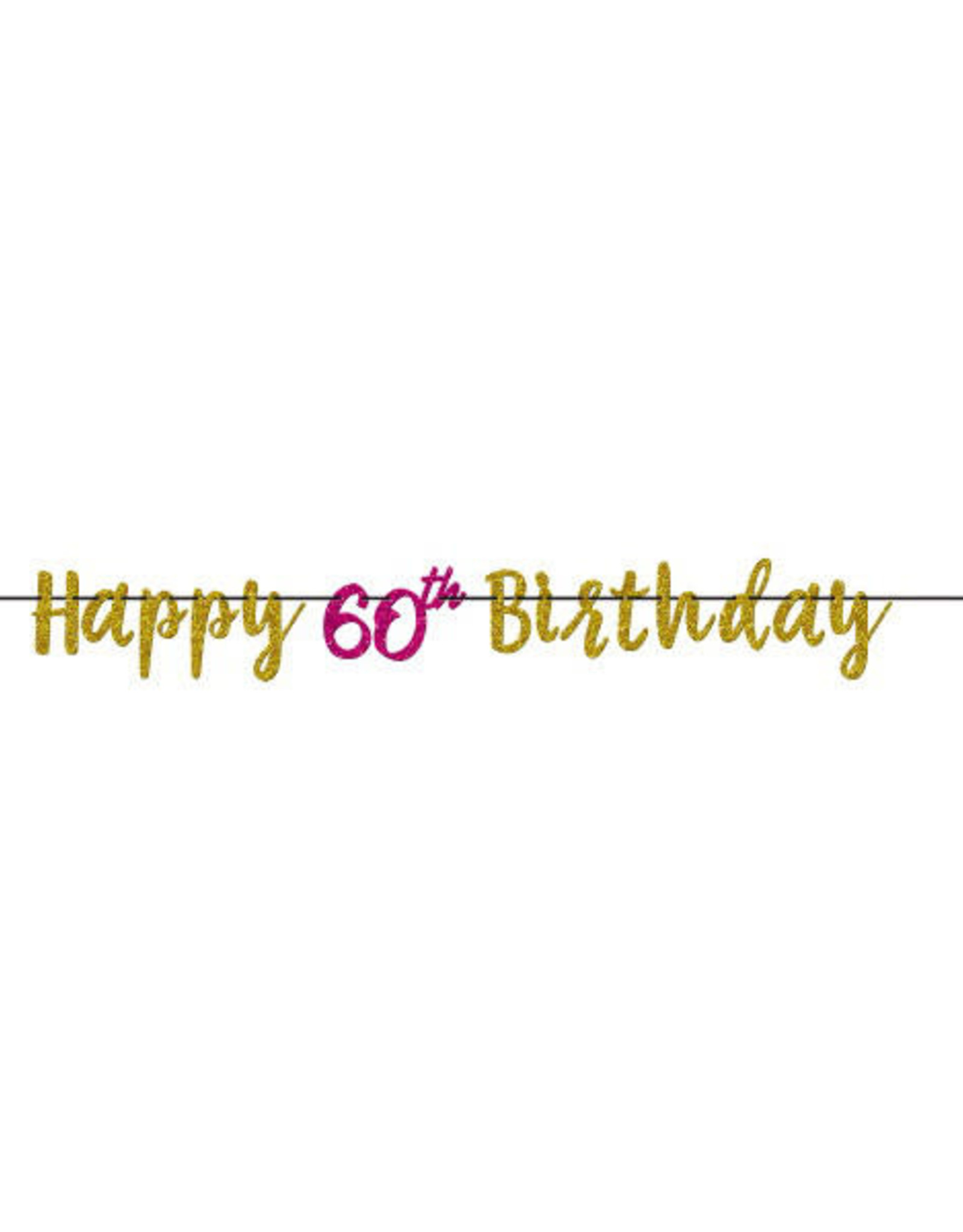 60th Birthday Pink & Gold Banner
