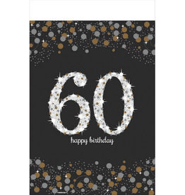 60th Birthday Black & Gold 6FT Plastic Tablecloth