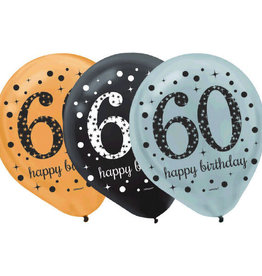 "Sparkling Celebration ""60"" Latex Balloons 12"" 15 pk"