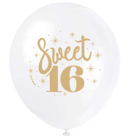 "Sweet 16' White & Gold 12"" Latex Balloons 8ct"