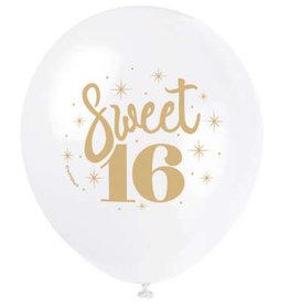 "Sweet 16' White & Gold 12"" Latex Balloons 8ct"