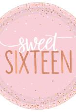 Metallic Rose Gold & Pink Sweet 16 Dessert Plates