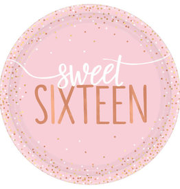 Metallic Rose Gold & Pink Sweet 16 Dessert Plates
