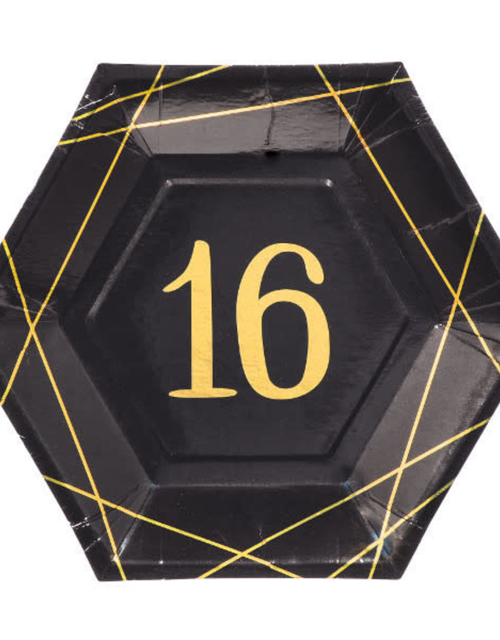 "16th Birthday Black & Gold Hexagon  7"" Dessert Plates"