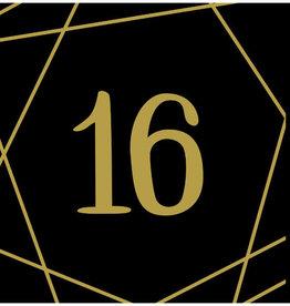 16th Birthday Gold & Black Beverage Napkins 16ct