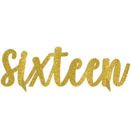 Sweet 16 Gold Glitter Table Centerpiece