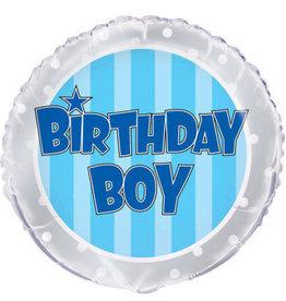 "Blue Striped Birthday Boy Round Foil Balloon 18"""