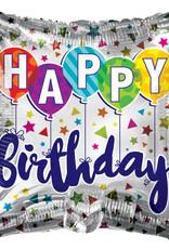 "'Happy Birthday' Balloons & Confetti 18"" Square Mylar Balloon"
