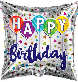 "'Happy Birthday' Balloons & Confetti 18"" Square Mylar Balloon"