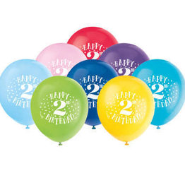 "'Happy 2nd Birthday' 12"" Latex Balloons 8ct"
