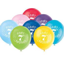 "'Happy 7th Birthday' 12"" Latex Balloons 8 pk"
