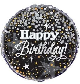 'Happy Birthday' Black & Gold Foil Balloon 18""