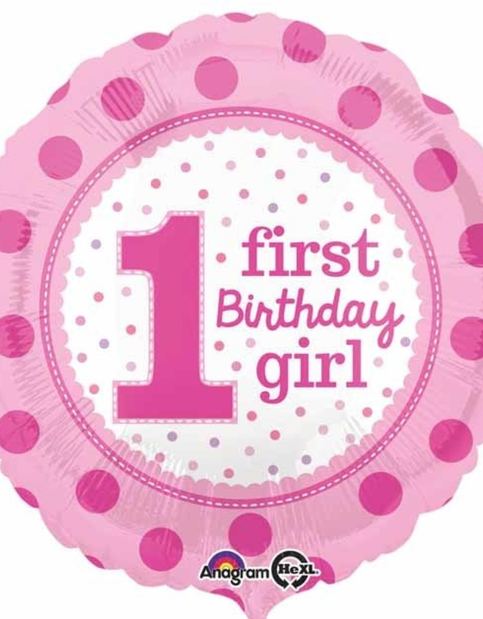 "'First Birthday Girl' Foil Ballon-Pink Polka Dot 18"""