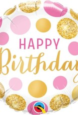 Happy Birthday Pink & Gold Foil Balloon 18""