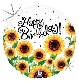 Sunflower 'Happy Birthday!' Foil Balloon 18""