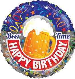 'Beer Time Happy Birthday!' Foil Balloon 18""