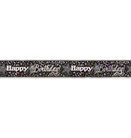Glittering Black & Gold Happy Birthday 12FT Banner