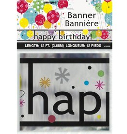 Happy Birthday 12ft Black Writting Banner