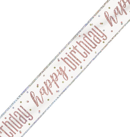 Glitz Happy Birthday Rose Gold 12FT Banner