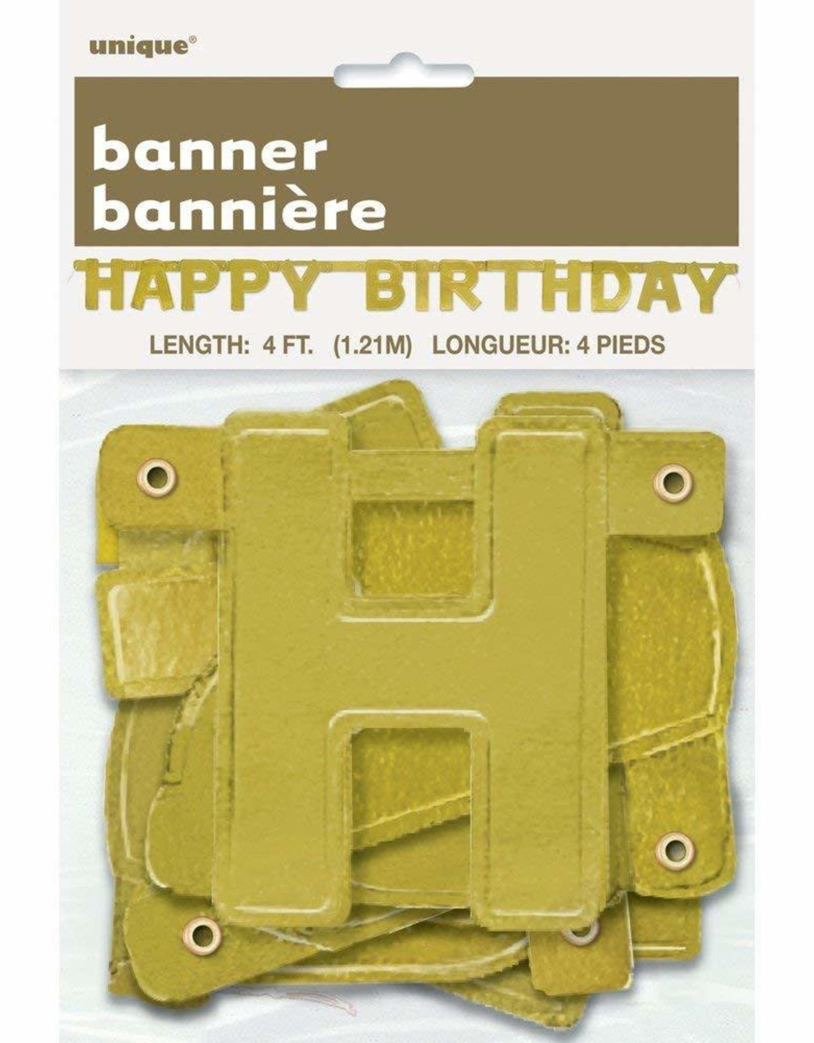 Happy Birthday Gold 4FT Jointed Banner