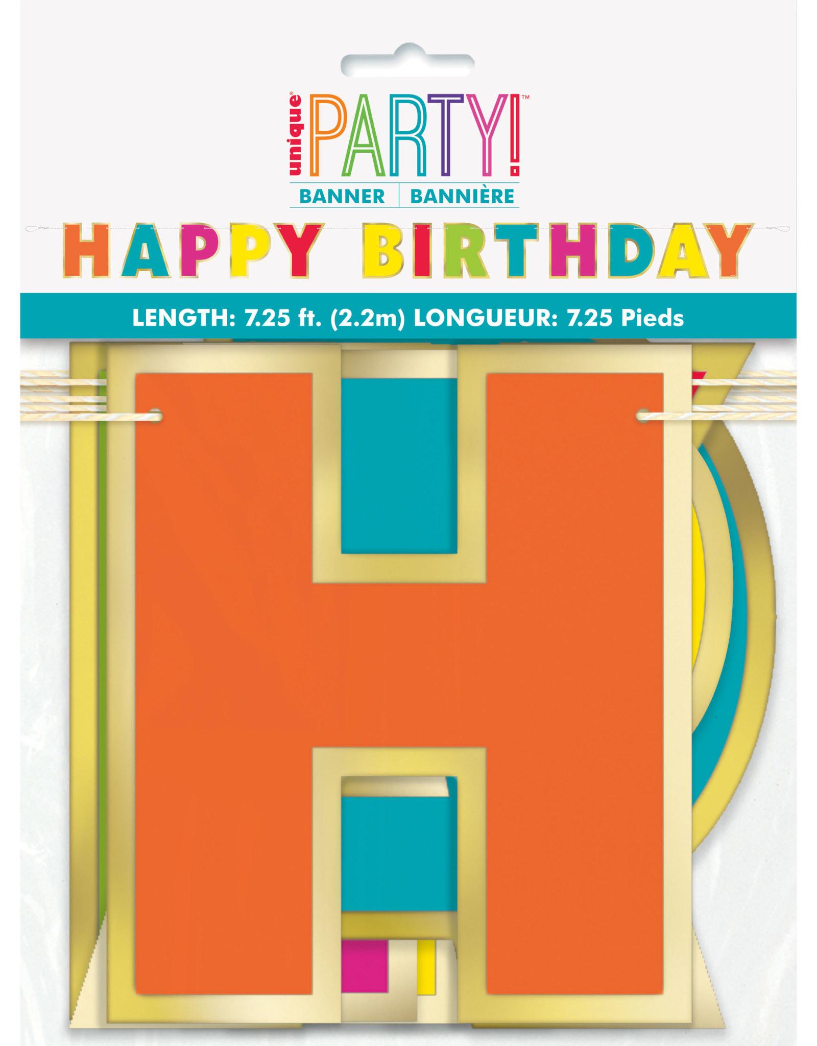 Happy Birthday Multi Coloured Gold Foil 7.25FT Banner