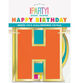 Happy Birthday Multi Coloured Gold Foil 7.25FT Banner