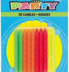 Multicolor Neon Birthday Candles 20ct