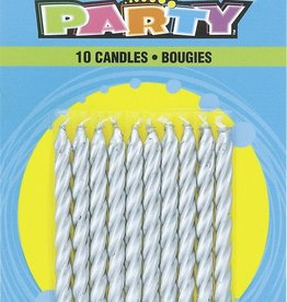 Silver Spiral Birthday Candles 10ct