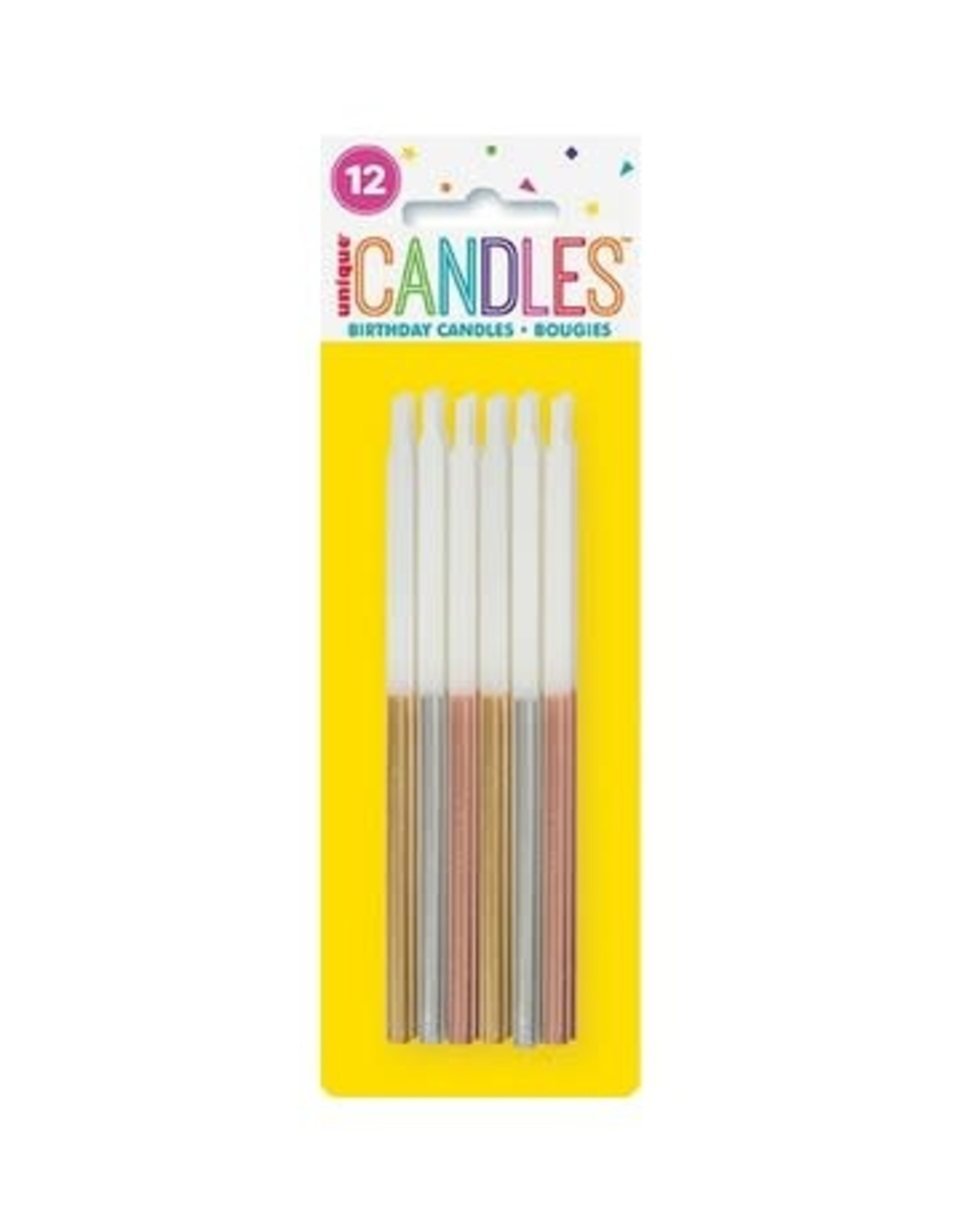 """Metallic Dipped Gold, Silver & Rose Gold Birthday Candles 5"""" - Assorted 12ct"""