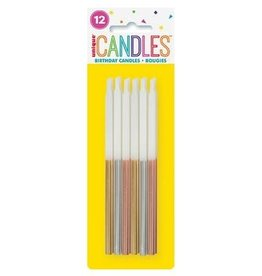 "Metallic Dipped Gold, Silver & Rose Gold Birthday Candles 5"" - Assorted 12ct"