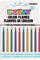 Color Flame Birthday Candles & Holders 10ct