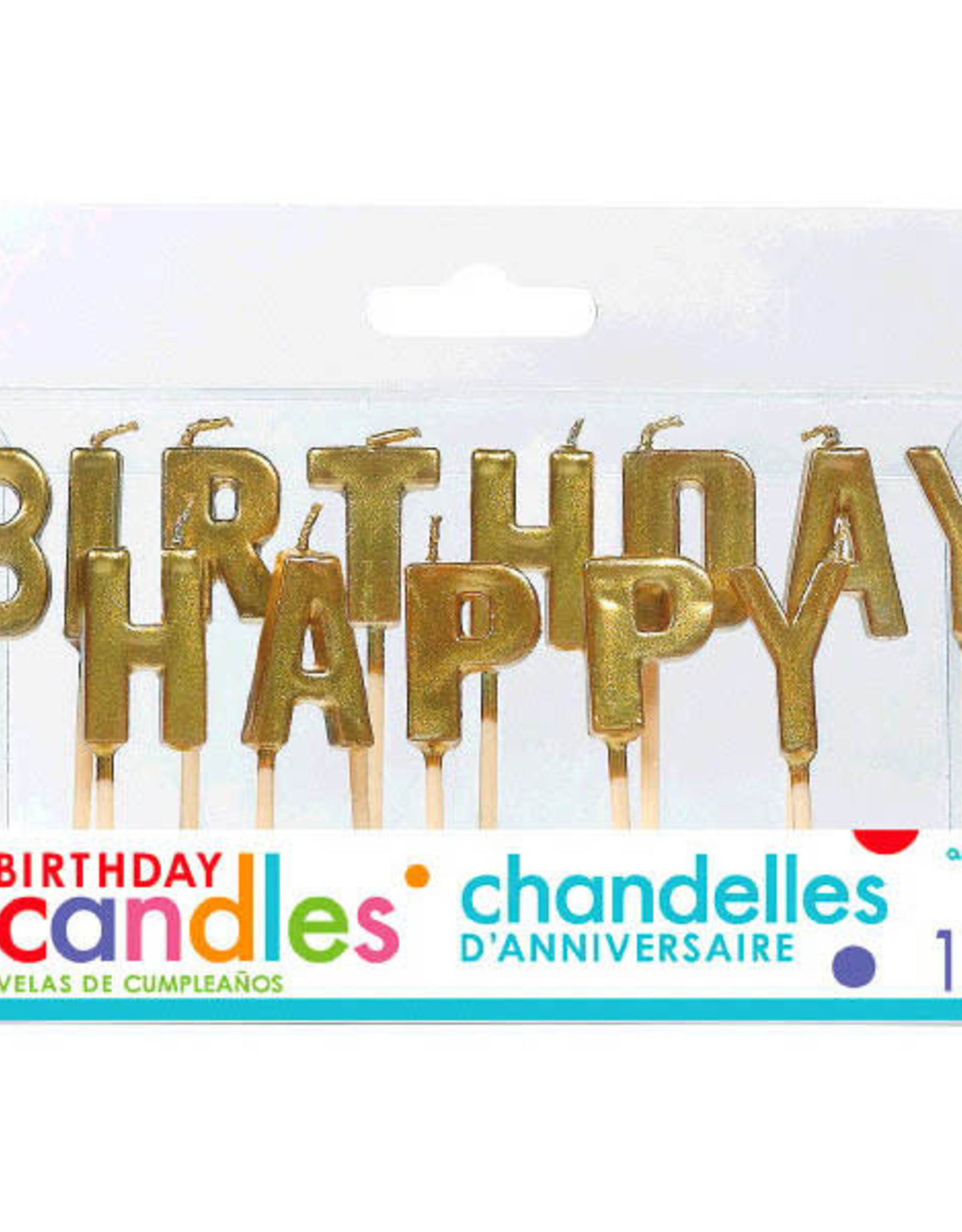 Happy Birthday Gold Pick Candles