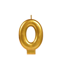 Gold Number 0 Birthday Candle