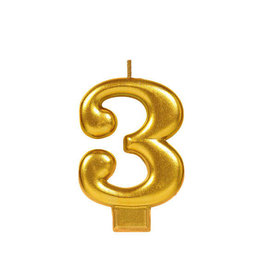 Gold Number 3 Birthday Candle
