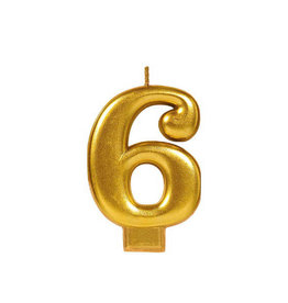 Gold Number 6 Birthday Candle
