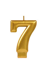 Gold Number 7 Birthday Candle