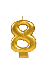 Gold Number 8 Birthday Candle