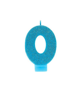 Glitter Blue Number 0 Birthday Candle