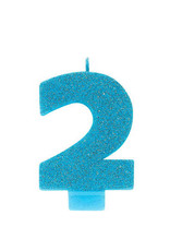 Glitter Blue Number 2 Birthday Candle