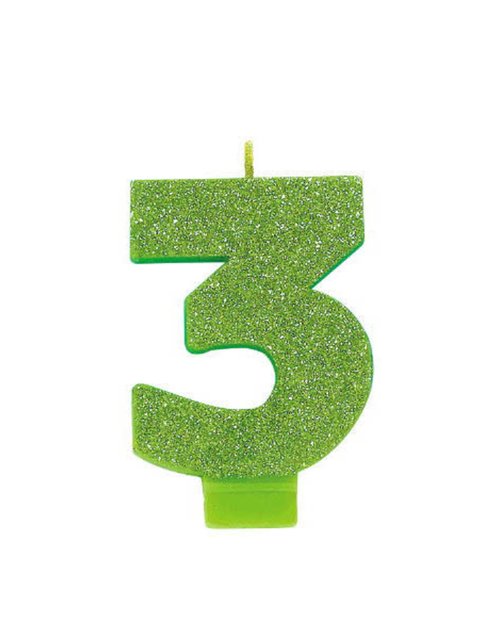 Glitter Lime Green Number 3 Birthday Candle
