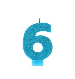 Glitter Blue Number 6 Birthday Candle