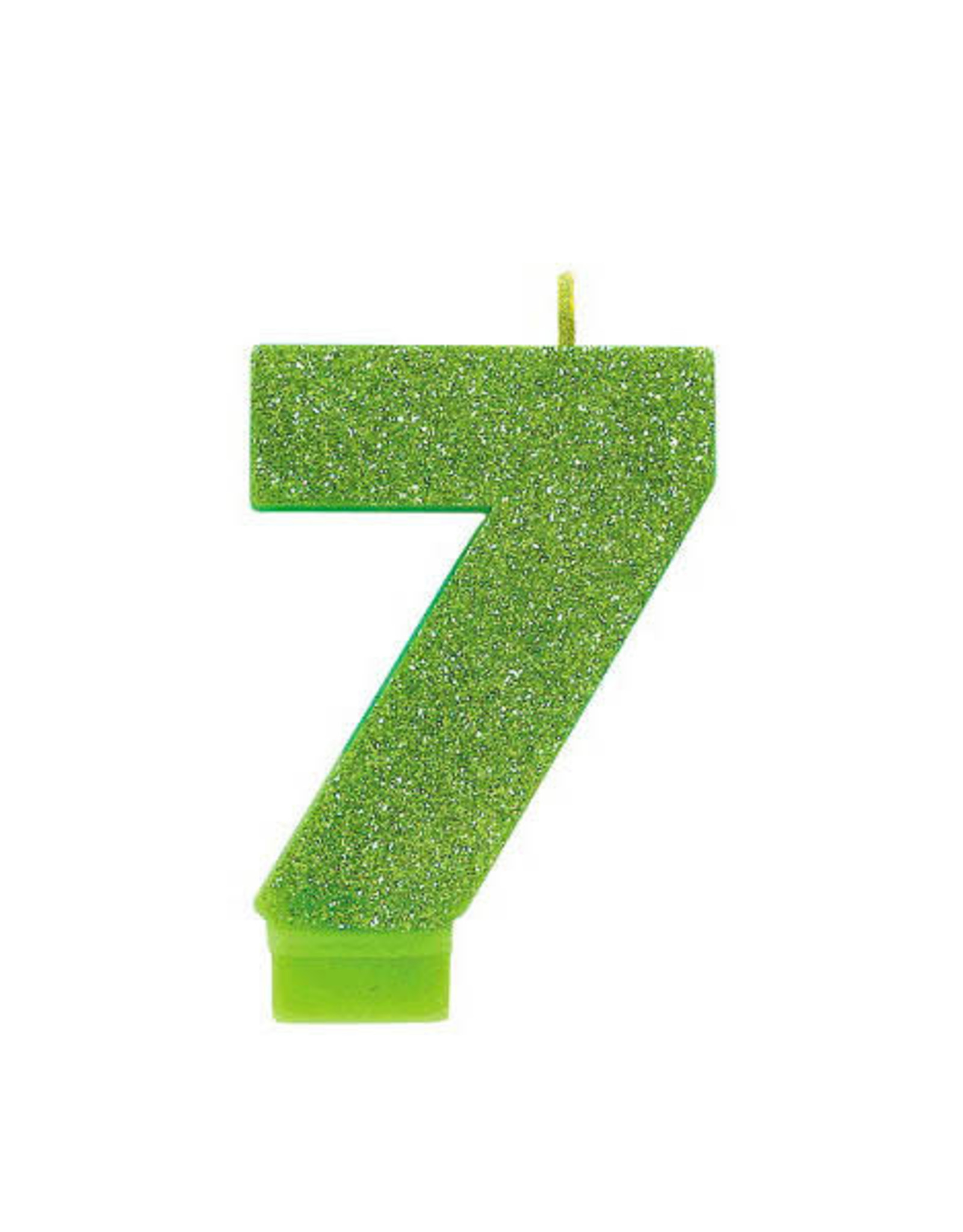 Glitter Lime Green Number 7 Birthday Candle
