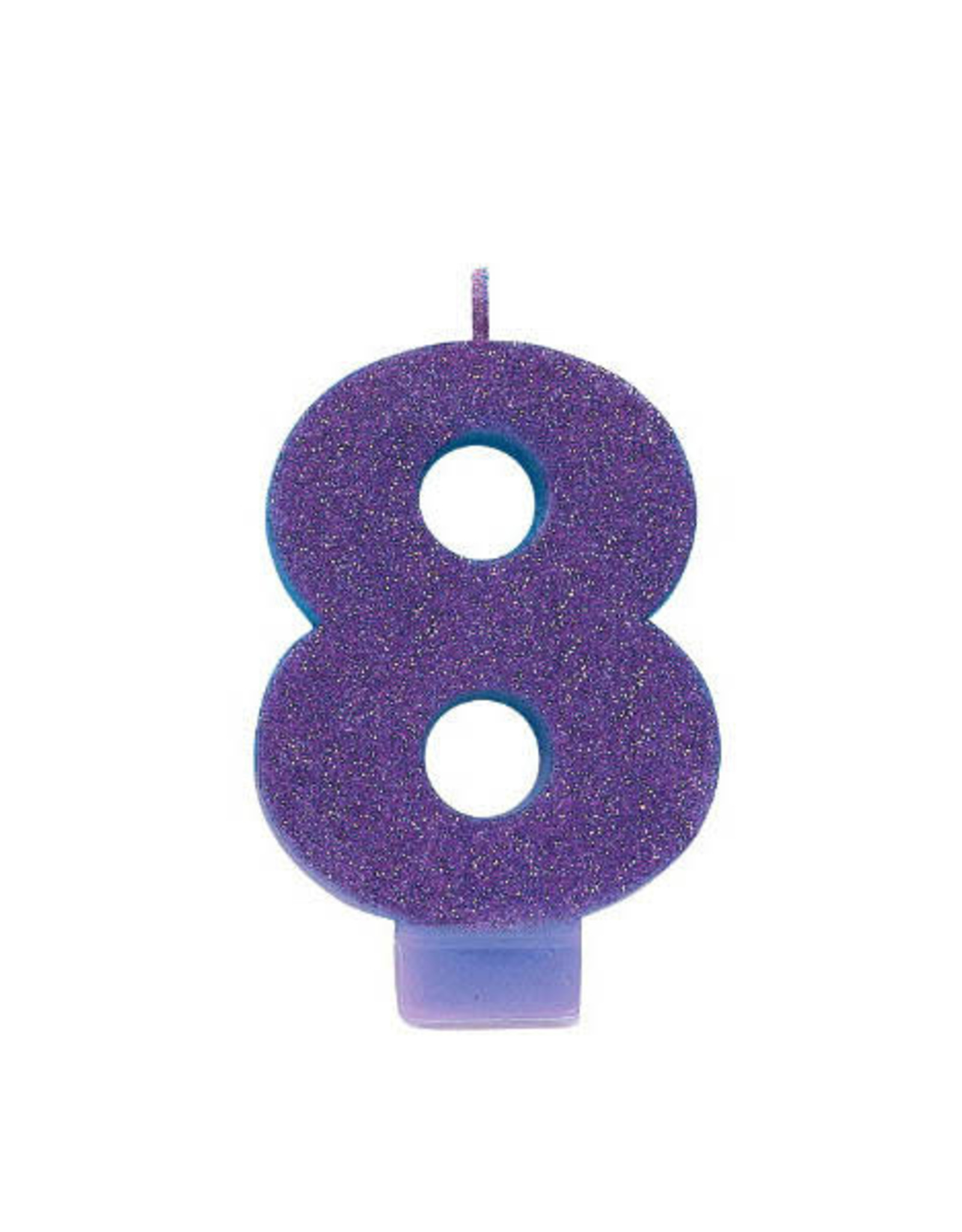 Glitter Purple Number 8 Birthday Candle