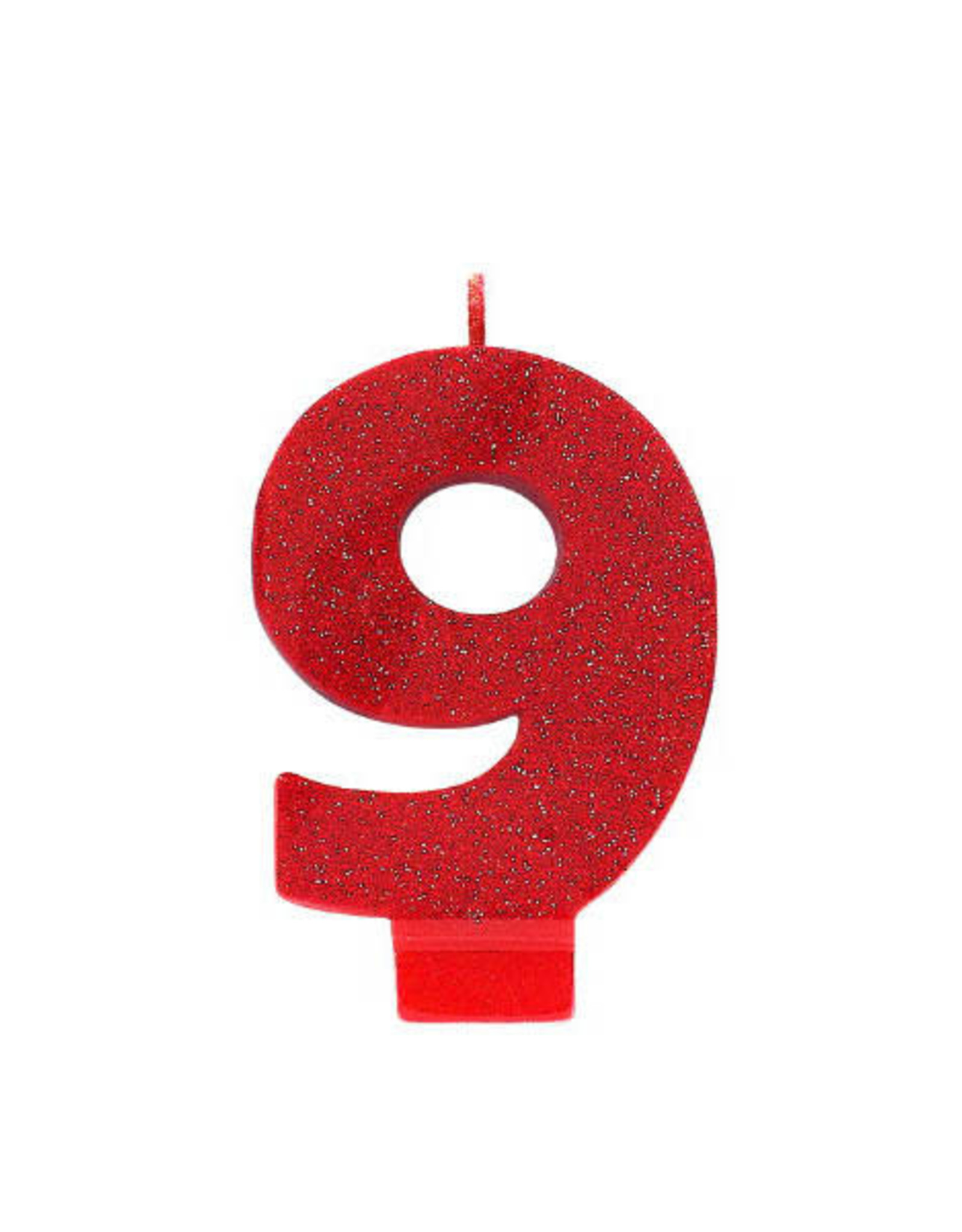 Glitter Red Number 9 Birthday Candle