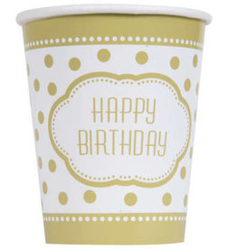 Golden Birthday 9oz Paper Cups 8ct