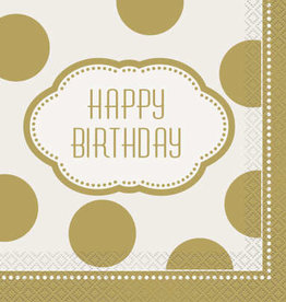 Golden Birthday Luncheon Napkins 16ct