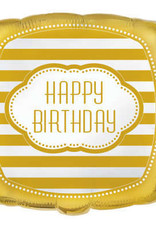 "Golden 'Happy Birthday' Square Foil 18"" Balloon"