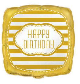 "Golden 'Happy Birthday' Square Foil 18"" Balloon"