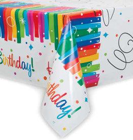 Rainbow Ribbons Birthday Rectangular Plastic 6FT Tablecloth
