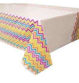 Rainbow Chevron Rectangular Plastic 6FT Tablecloth